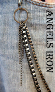 Jean Chain Wallet Biker Hipster Chains High Quality Gunmetal Mens Steampunk Gothic Punk Accessories Gift for him