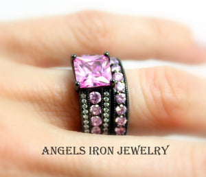 Black Ring Set Pink Sapphire CZ Wedding Engagement Rings Promise Unique