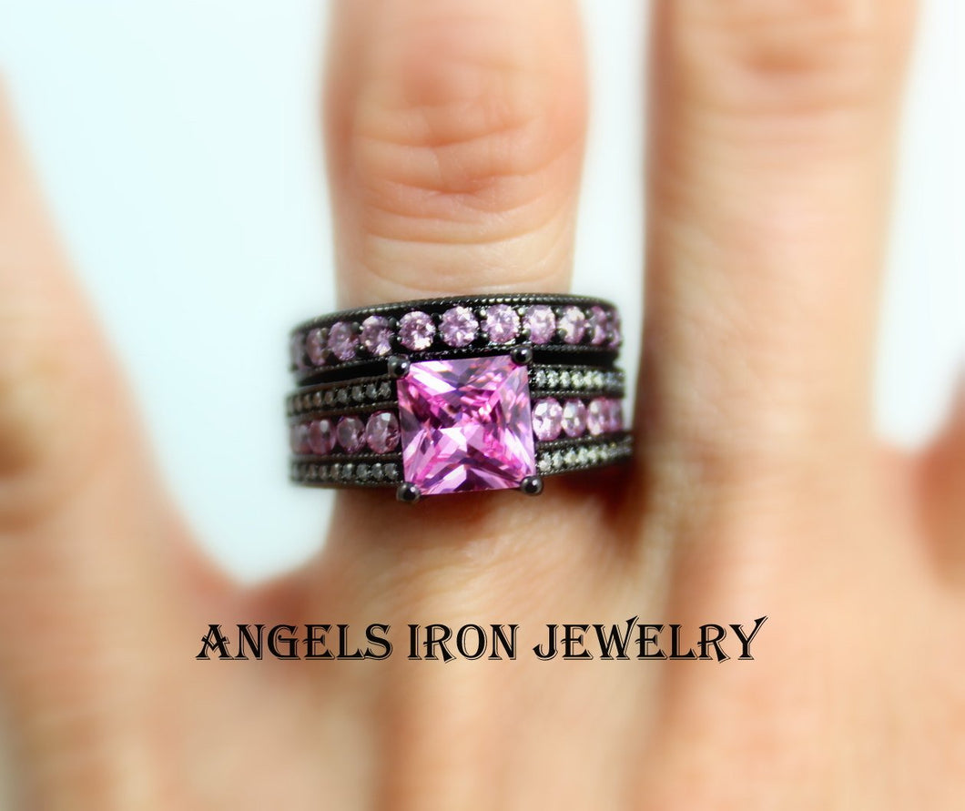 Black Engagement Ring Set Women Pink Wedding Anniversary Promise Rings Unique Gothic Jewelry Women Gift