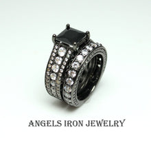 Load image into Gallery viewer, Black Engagement Ring Women Wedding Promise Anniversary Rings Set Unique