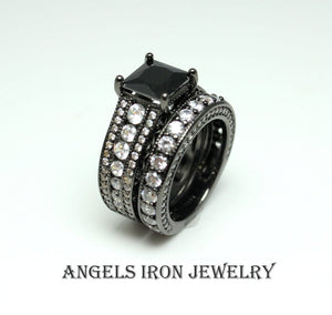 Black Engagement Ring Women Wedding Promise Anniversary Rings Set Unique