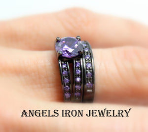 Black Ring Women Set Engagement Wedding Promise Anniversary Rings Purple Amethyst Gothic Steampunk Unique Jewelry Women Gift for her