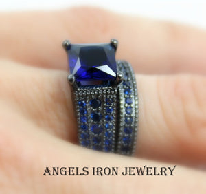SALE Black Ring Women Blue Sapphire Enagement Wedding Anniversary Rings