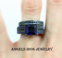 Load image into Gallery viewer, SALE Black Ring Women Blue Sapphire Enagement Wedding Anniversary Rings
