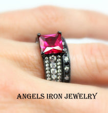 Load image into Gallery viewer, SALE Black Ring Women Engagement Wedding Anniversary Promise Rings Set Hot Pink Ruby CZ Steampunk Gothic Jewelry Unique Gift