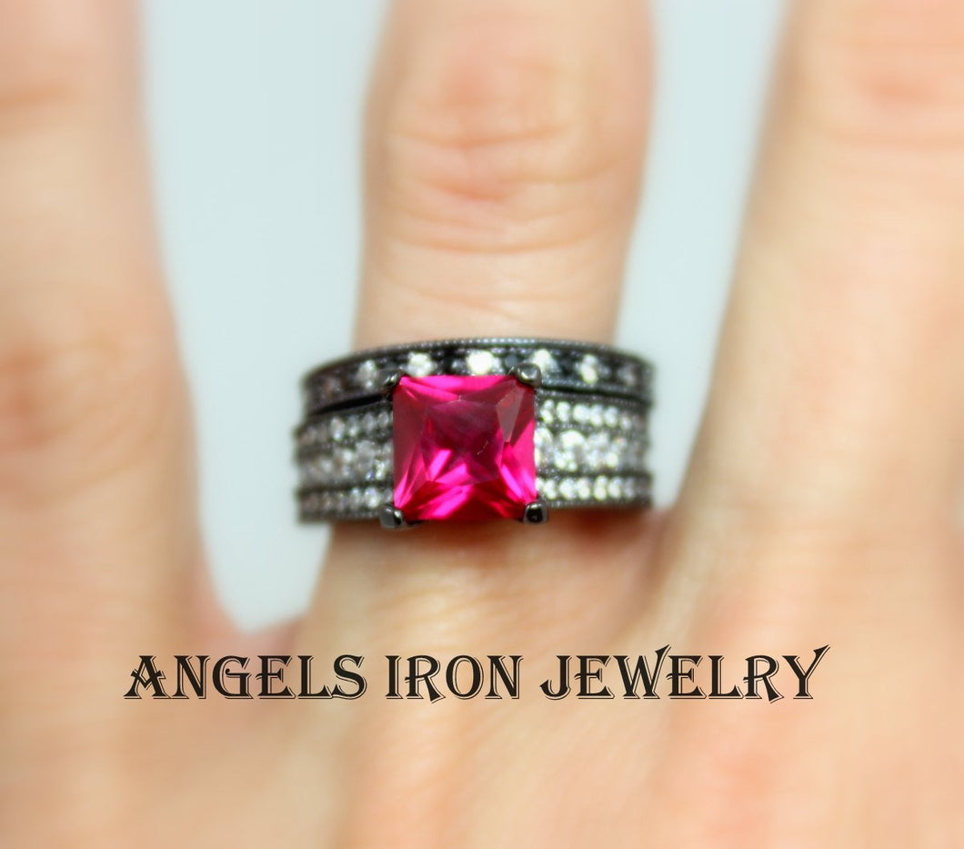 SALE Black Ring Women Engagement Wedding Anniversary Promise Rings Set Hot Pink Ruby CZ Steampunk Gothic Jewelry Unique Gift