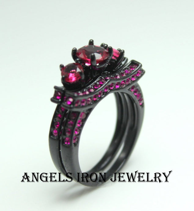 SALE Black Ring Women Multi Stone Set Ruby Pink Wedding Engagement Promise
