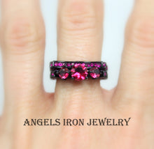 Load image into Gallery viewer, SALE Black Ring Women Multi Stone Set Ruby Pink Wedding Engagement Promise