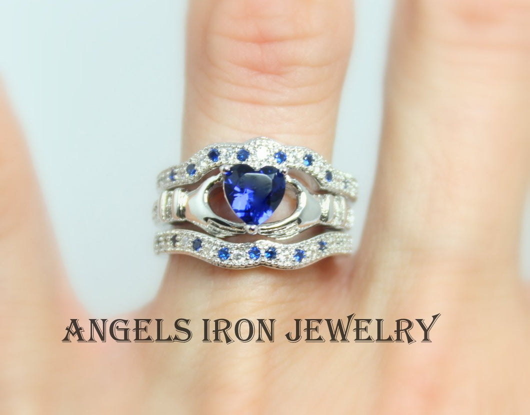 Claddagh Ring Sterling Silver Set Women Blue Sapphire Heart Irish Celtic Rings Wedding Engagement Promise Silver Jewelry Unique Gift for Her
