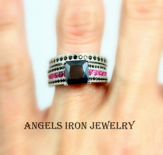 Black Diamond Engagement Ring Women Wedding Anniversary Promise Rings White Gold Filled Pink Steampunk Goth Jewelry Unique Gift