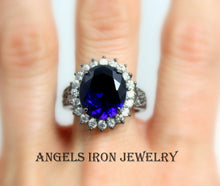 Load image into Gallery viewer, Big Black Cocktail Ring Large Huge Blue Sapphire Cubic Zirconia Victorian Statement Rings