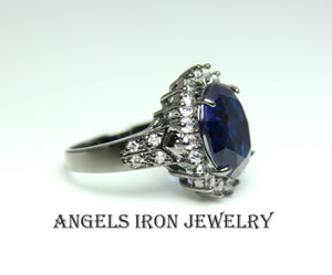 Big Black Cocktail Ring Large Huge Blue Sapphire Cubic Zirconia Victorian Statement Rings