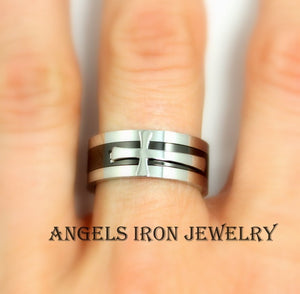 Stainless Steel Band Cross Ring Women Men Engagement Wedding Promise Rings Black Silver Multi Bands 8mm Jewelry gift