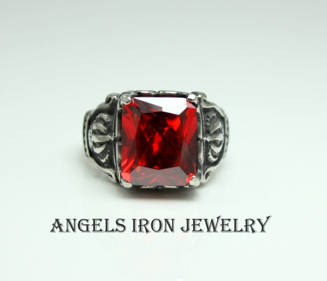 Stainless Steel Ring Men Red Garnet Crystal High Quality King Biker Gothic Punk Jewelry Men's Rings Gift for Him