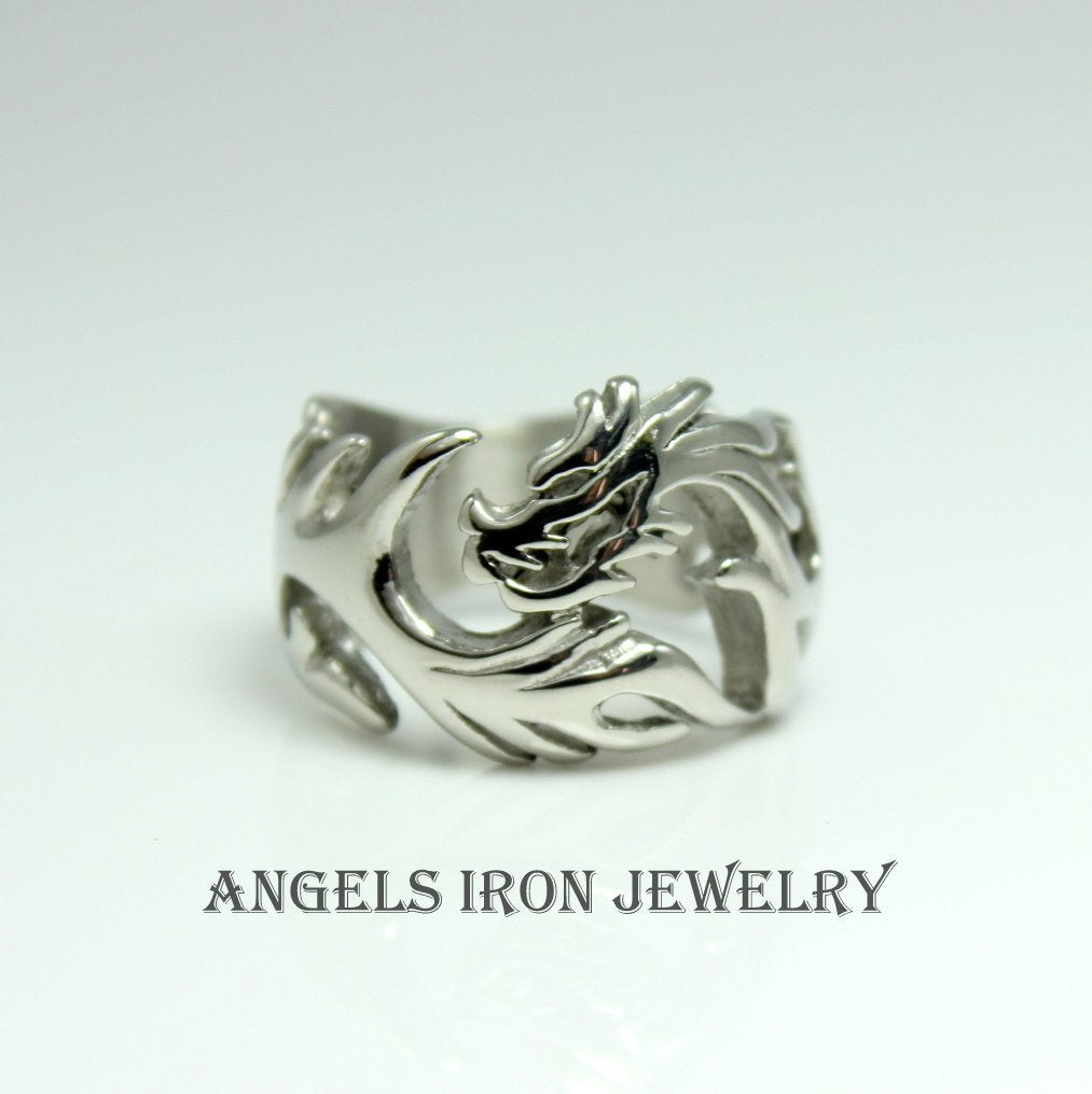 Dragon Ring Band Men Stainless Steel Dragons Rings High Quality Mens Silver Jewelry 316L Solid Unique Gift for him