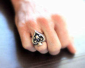 Skull Ring Stainless Steel Spade Men High Quality Jewelry for Him Silver Skulls Ace of Spades Pirate Rings