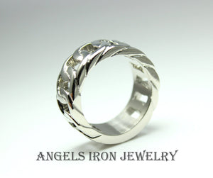 Stainless Steel Ring Men Wedding Band High Quality Jewelry Unique Chain Design Size 10 11 Gift for Him