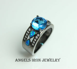 Black Gold Ring Women Blue Topaz Zirconia  Opal Wedding Engagement Anniversary Promise Rings Goth Unique Jewelry Women Gift for her