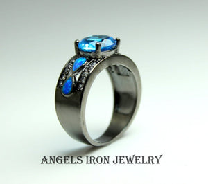 Black Gold Ring Women Blue Topaz Zirconia  Opal Wedding Engagement Anniversary