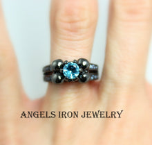 Load image into Gallery viewer, Skull Ring Women Black Rhodium High Quality Blue Topaz CZ Engagement Anniversary Promise Rings Unique Skulls Gothic Jewelry Gift for her