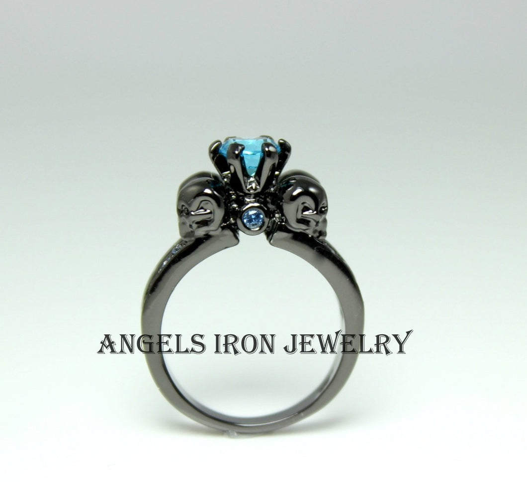 Skull Ring Women Black Rhodium High Quality Blue Topaz CZ Engagement Anniversary Promise Rings Unique Skulls Gothic Jewelry Gift for her