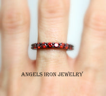 Load image into Gallery viewer, Black Eternity Band Women Red Ruby Ring CZ Wedding Engagement Promise Ring