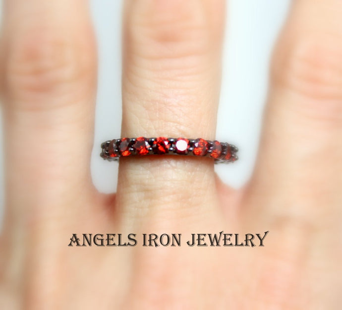 Black Eternity Band Women Red Ruby Ring CZ Wedding Engagement Promise Ring