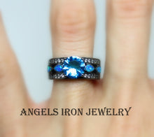 Load image into Gallery viewer, Black Gold Ring Women Blue Topaz Zirconia  Opal Wedding Engagement Anniversary