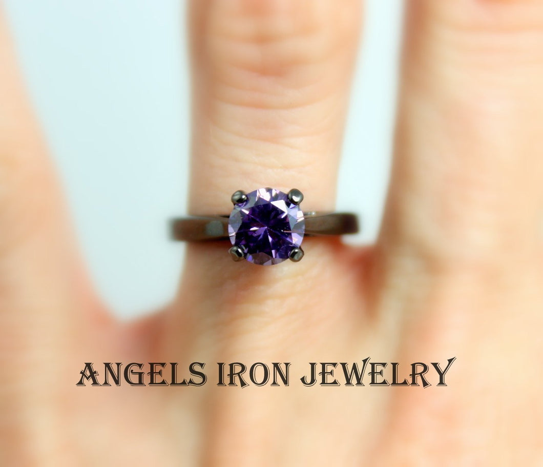 Black Gold Ring Women Engagement Wedding Promise Rings Solitaire Purple Amethyst CZ Unique Gothic Steampunk Jewelry Women Gift for her