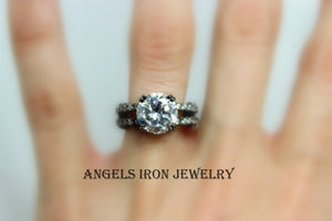 Black Engagement Ring Gold Filled Diamond Zirconia Wedding Anniversary Promise Rings Gothic Unique