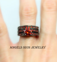Load image into Gallery viewer, Black Ring Women Set Engagement Wedding Promise Anniversary Rings Red Ruby Gothic Steampunk Unique Jewelry Women Gift for her