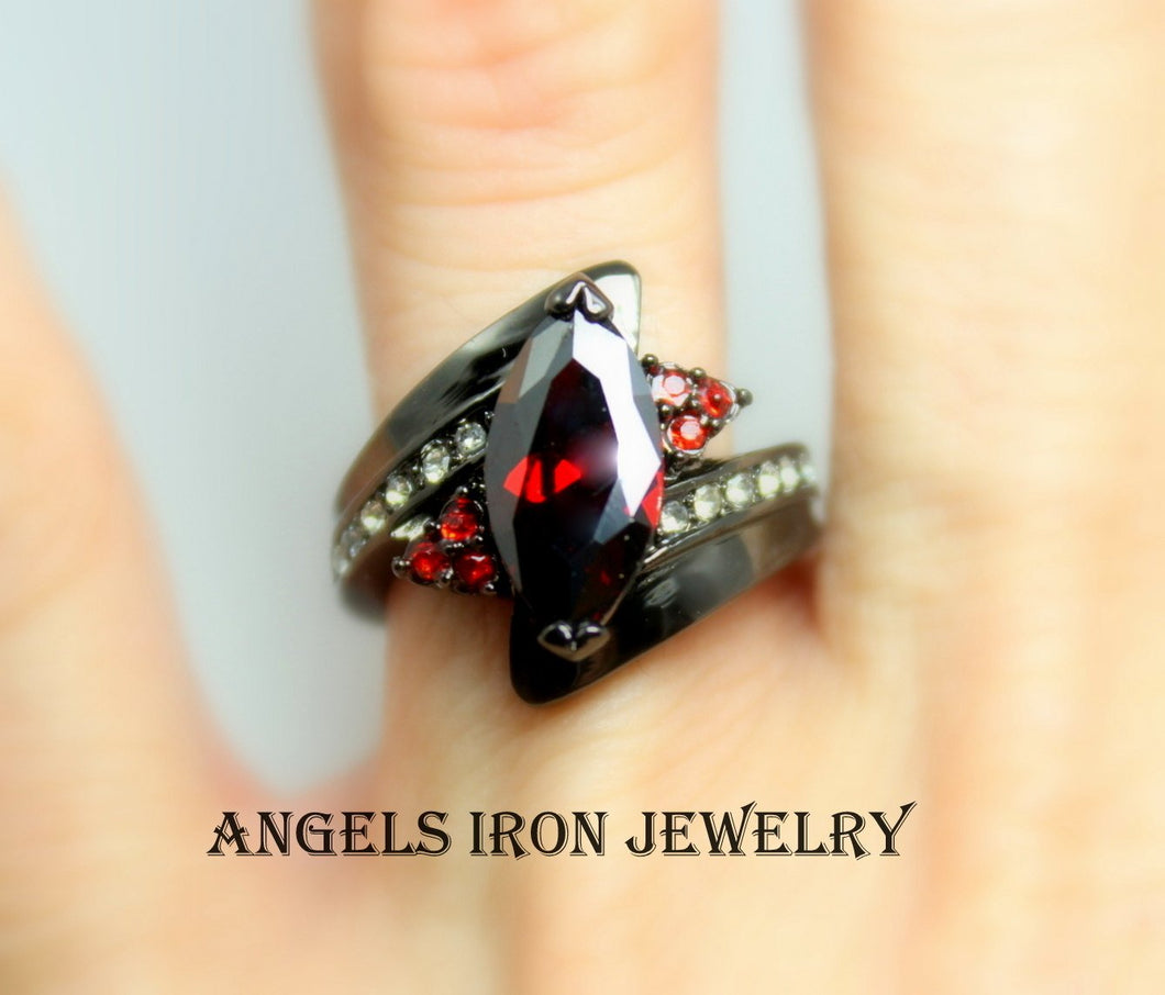 Black Ring Women Wedding Engagement Anniversary Promise Rings Red Garnet CZ Gothic Jewelry Women Gift for her