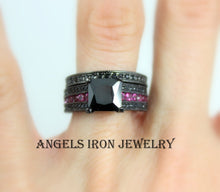 Load image into Gallery viewer, SALE Black Gold Ring Women Wedding Engagement Promise Rings Unique