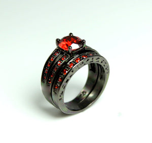 Black Ring Women Set Engagement Wedding Promise Anniversary Rings Red Ruby Gothic Steampunk Unique Jewelry Women Gift for her