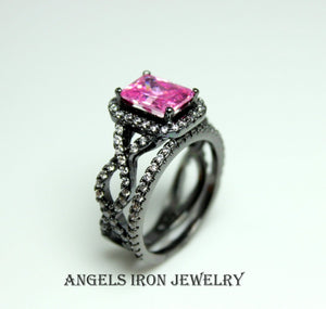 Black Ring Women Pink Sapphire CZ Wedding Engagement Anniversary Promise Rings Unique Set Gothic Gold Filled Jewelry Gift
