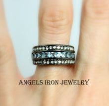 Load image into Gallery viewer, Black Band Women Blue CZ Wedding Engagement Promise Eternity Ring Anniversary Bands Unique Jewelry Gothic Steampunk