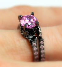 Load image into Gallery viewer, Black Ring Women Pink Diamond CZ Wedding Engagement Anniversary Promise Rings Unique