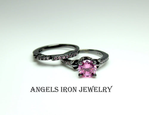 Black Ring Women Pink Diamond CZ Wedding Engagement Anniversary Promise Rings Unique