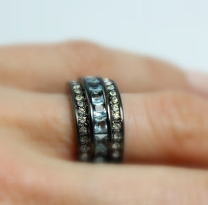 Black Band Women Blue CZ Wedding Engagement Promise Eternity Ring Anniversary Bands Unique Jewelry Gothic Steampunk