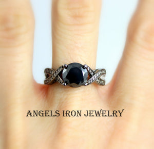 Black Ring Women Gold Filled Black Diamond Wedding Engagement Rings Promise Two Tone Band Unique Goth Jewelry Women Gift for her