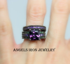Black Ring Women Engagement Wedding Anniversary Promise Rings Unique Gothic Set Purple Amethyst Green Steampunk Jewelry