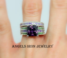 Load image into Gallery viewer, Unique Engagement Ring Set Wedding Anniversary Promise Rings  Gothic Set Purple Amethyst Green Steampunk Jewelry