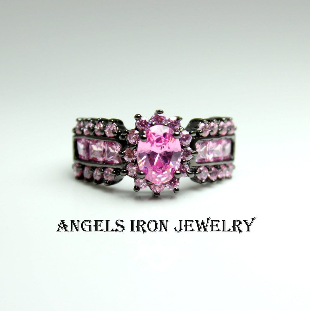 Black Gold Ring Women Wedding Engagement Anniversary Promise Rings Pink Sapphire CZ