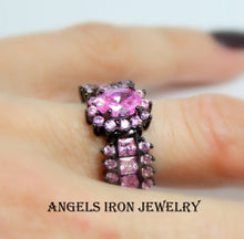 Load image into Gallery viewer, Black Gold Ring Women Wedding Engagement Anniversary Promise Rings Pink Sapphire CZ