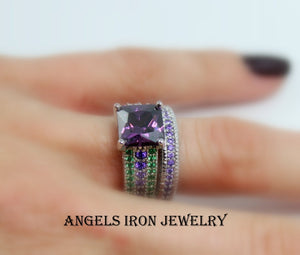 Unique Engagement Ring Set Wedding Anniversary Promise Rings  Gothic Set Purple Amethyst Green Steampunk Jewelry