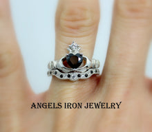 Load image into Gallery viewer, Claddagh Ring Sterling Silver Women Black Diamond CZ Heart Irish Celtic Rings Wedding Engagement Promise Silver Jewelry Unique Gift for Her