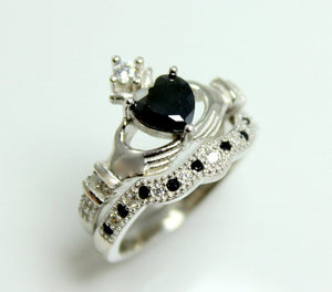 Claddagh Ring Sterling Silver Women Black Diamond CZ Heart Irish Celtic Rings Wedding Engagement Promise Silver Jewelry Unique Gift for Her