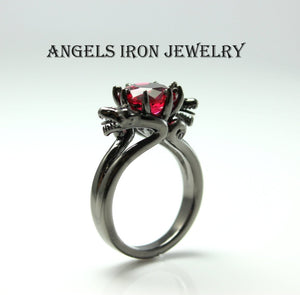 SALE Black Ring Women Wedding Engagement Anniversary Promise Rings Red Ruby CZ