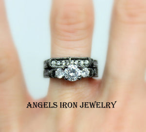 Black Engagement Ring Women Wedding Anniversary Promise Rings Unique Gothic