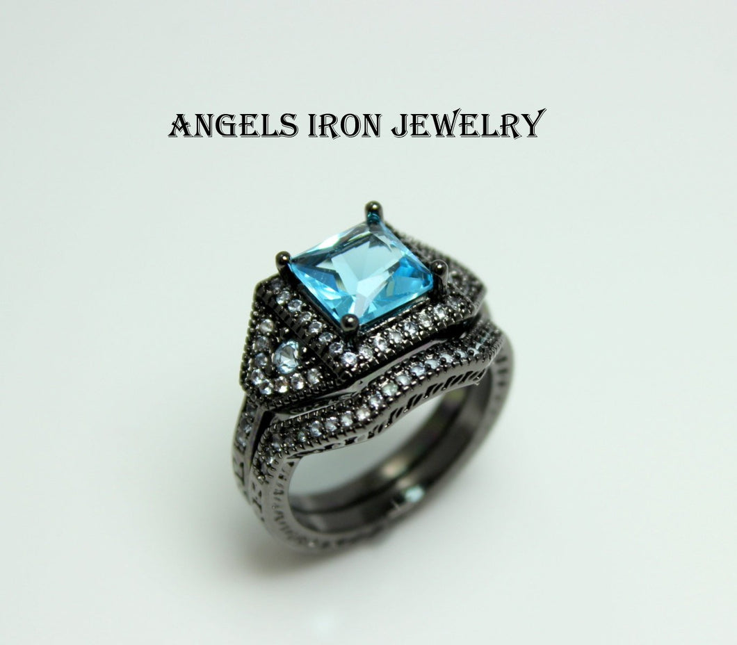 Black Gold Ring Engagement Wedding Anniversary Promise Rings Blue Topaz Set